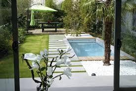 Small Garden Pool Ideas Concrete Backyard Landscaping Design Of Small Concrete Backyard
