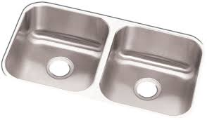 Elkay DXUH  Inch Undermount Double Bowl Stainless Steel Sink - Triple sink kitchen