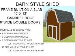 gambrel roof 10 u2032 x 12 u2032 barn style shed plan free house plan reviews