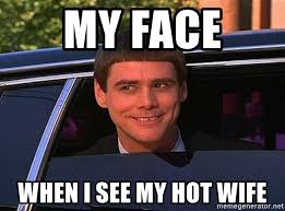 Hotwife Meme - my face when i see my hot wife jim carrey limo meme generator