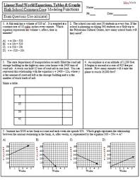 real world linear equations tables and graphs exam by mrs math