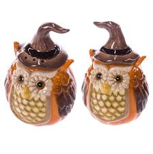 stoneware owl salt and pepper shaker set collections harvest