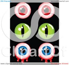 clipart illustration of a collection of creepy halloween eyes