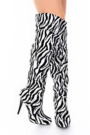 womens zebra boots black silver zebra print velvet metallic thigh high boots
