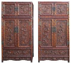 Dog Armoire Furniture Pair Oriental Rosewood Dimensional Foo Dog Carving Compound