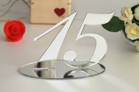 wedding table numbers silver mirrored table numbers wedding signs table decor
