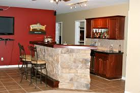 Home Bar Interior Design by Red Wall And Stone Bar Counter Also Wood Bar Cabinet And Nice