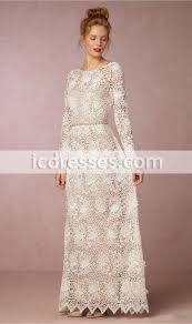 bhldn 2017 sheath beach wedding dresses long sleeve backless full