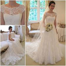 lace wedding dress with sleeves shedress capped sleeves sweep a line lace wedding dress