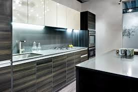 black and white kitchen decoration using dark grey wood laminate