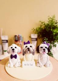 cake topper with dog clay dog cake topper lhasa apso cake topper shih tzu maltese