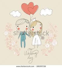 Groom To Bride Wedding Card Bride Groom Cute Vector Wedding Card Stock Vector 200764700