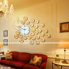 Decorative Wall Clocks For Living Room Modern Style Creative Golden Super Big Peacock Mute Wall Clock