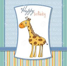 happy birthday card with nice giraffe royalty free cliparts