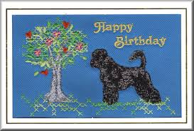 portuguese water dog birthday card embroidered by dogmania 8 x 6