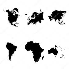 World Map Simple Vector by Continents Silhouette Simple Icons Set U2014 Stock Vector