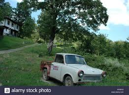 Weird House by East German Car Trabant Rebuild To A Pick Up In Front Of