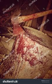 butchers bloody axe on block stock photo 424032676 shutterstock