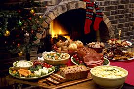 new years socks new year celebratory table food dishes meat fireplace christmas