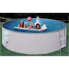 Decorating Ground Intex Swimming Pools With Pool Ladder And