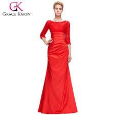 grace karin elegant long sleeve lace evening dresses red cl4524 2