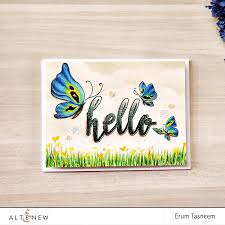 simple card with pencil coloured painted butterflies altenew blog