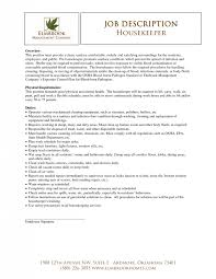 Job Descriptions For Resumes by Housekeeper Resume Hotel Housekeeper Resume Best Housekeeper