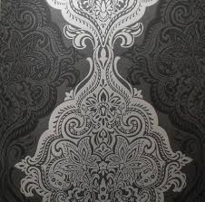 black silver damask wallpaper in the closet and silver walls in