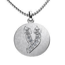 Single Initial Monogram Necklace Hebrew Ayin Initial Necklace 0 30 Ct Tw Jewelrynest