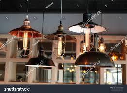 vintage pendant lamp rustic lights style stock photo 502659523