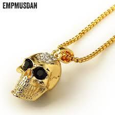 aliexpress buy nyuk gold rings bling gem empmusdan skull pendants necklace bling bling necklace