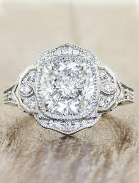 halo cushion cut engagement ring petal halo cushion cut ring vintage inspired
