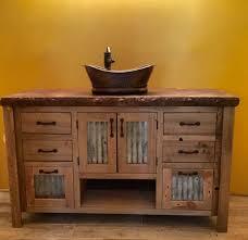 Bathroom Vanity Reclaimed Wood Barnwood Bathroom Vanity Rustic 48 Reclaimed Barn Wood W Tin Doors