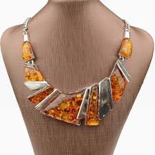 amber earrings necklace images Luxury brand new statement necklaces pendants yellow tibet silver jpg