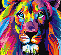 acrylic lion ring holder images Frameless colorful lion animals abstract painting diy digital jpg