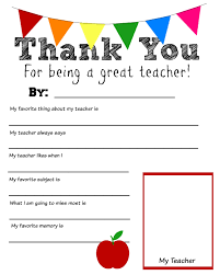 thank you cards for teachers printable thank you cards for teachers world of printable and chart