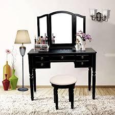 Mirrored Vanity Stool Amazon Com Blongang Vanity Set Tri Folding Mirror Vanity Make Up