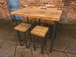 wood metal desk reclaimed industrial 4 seater chic tall poseur table bar