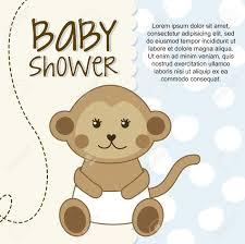 baby shower card with monkey vector illustration royalty free