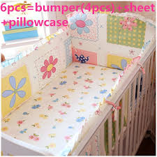 Nursery Cot Bedding Sets Promotion 6pcs Crib Ruffle Bedding Sets Customized Baby Bedding