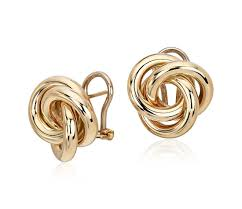 yellow gold stud earrings oversized knot stud earring in 14k yellow gold gold and