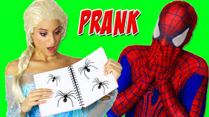 frozen elsa in real life funny prank by spiderman youtube