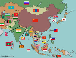 asia map map of asia with flags mexico map