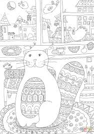 cozy kitty cat coloring page free printable coloring pages