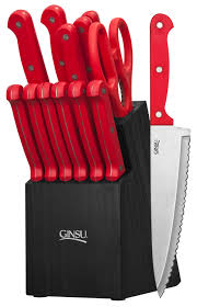 essential series 14 piece cutlery set w black block and red handles