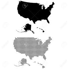 United States Map States by Dotted And Silhouette United States Map Royalty Free Cliparts