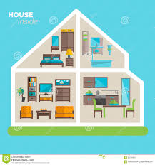 house inside furnishing ideas icon poster stock vector image