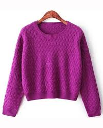purple sweater purple cotton neck cropped cable knit sweater st1590001 4