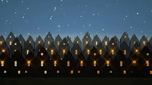 cartoon stylized traditional north european houses at night