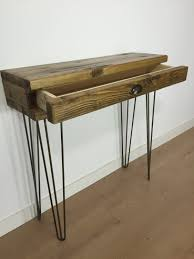 hairpin leg console table reclaimed pine console table with drawer and metal hairpin legs